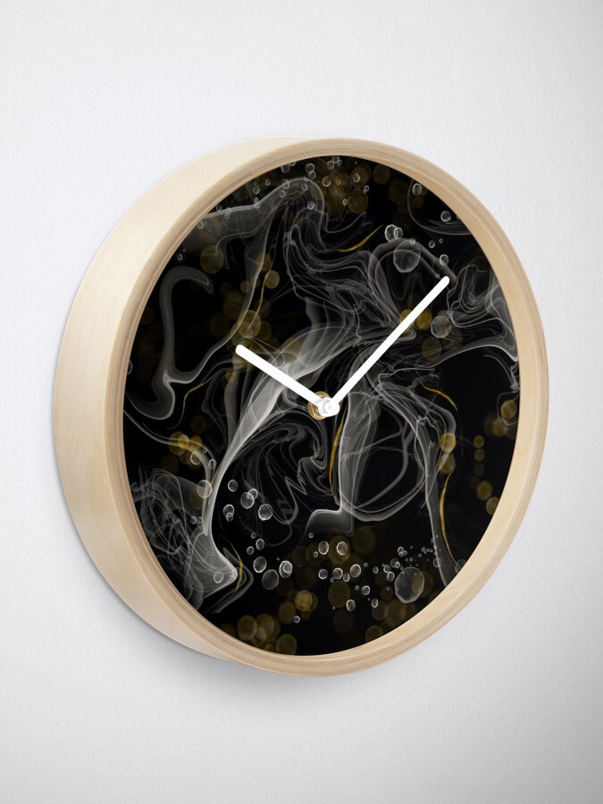 Alternate view of Monochrome and gold alcohol inks Clock
