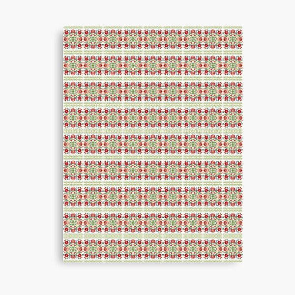 Hungarian #Folk #Art #Red #Flowers Canvas Print