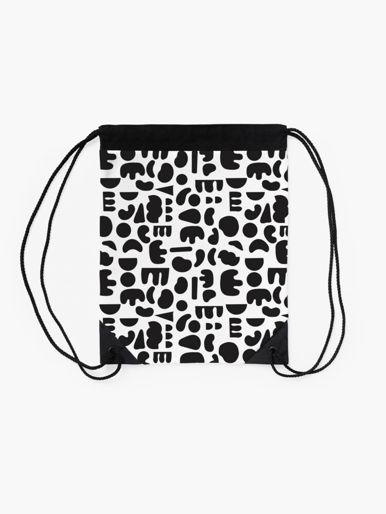 Alternate view of Black and white - abstract pattern dance Drawstring Bag