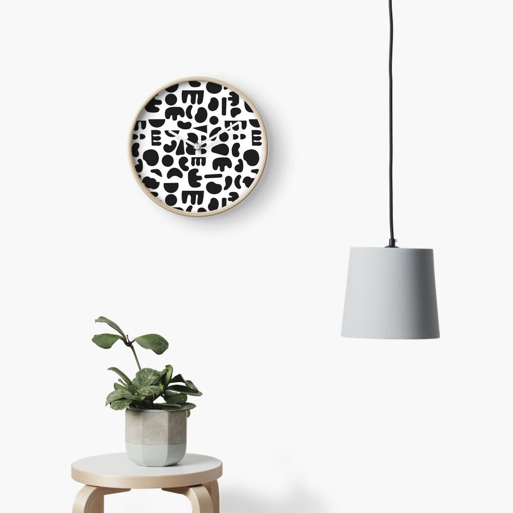 Black and white - abstract pattern dance Clock