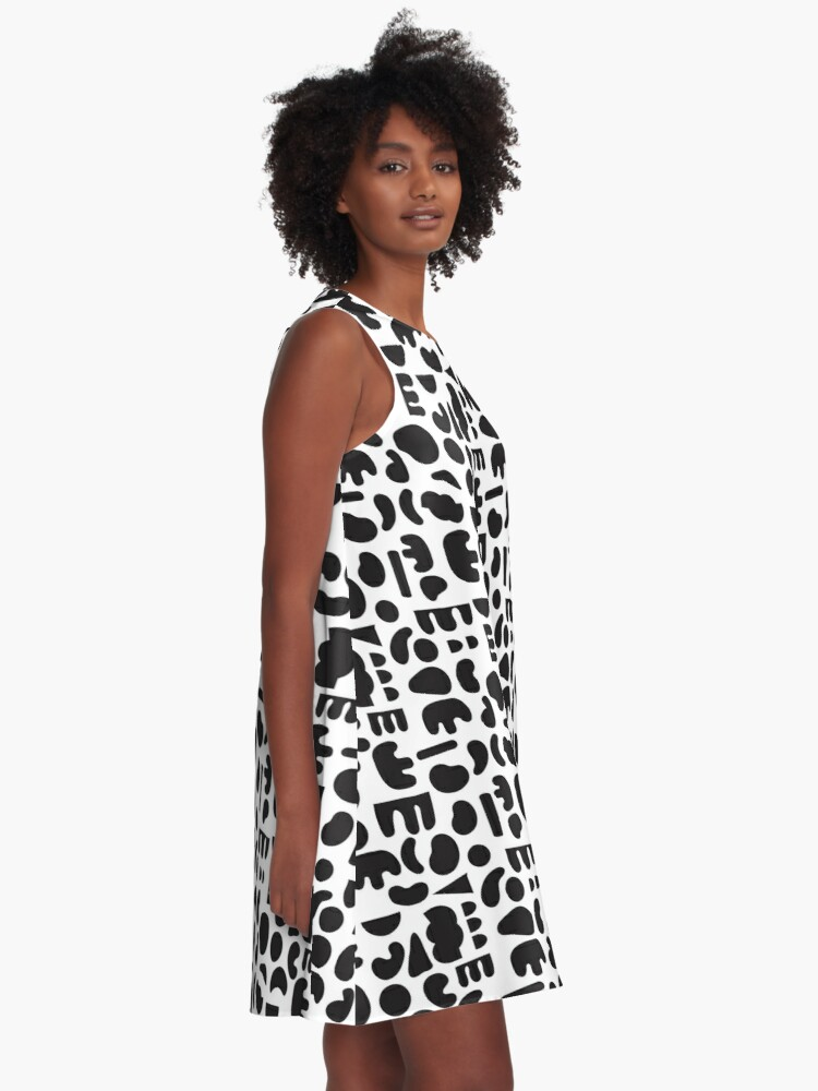 Alternate view of Black and white - abstract pattern dance A-Line Dress