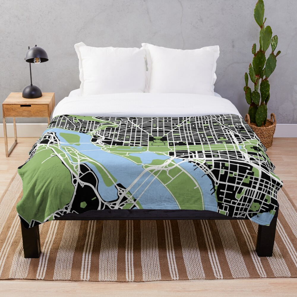 Map of Washington, DC Throw Blanket