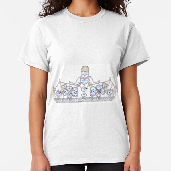 Silver Crown of Heart Diamonds and Pearls 1 Classic T-Shirt