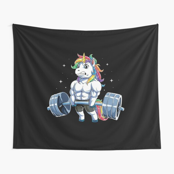 Unicorn Weightlifting Tapestry