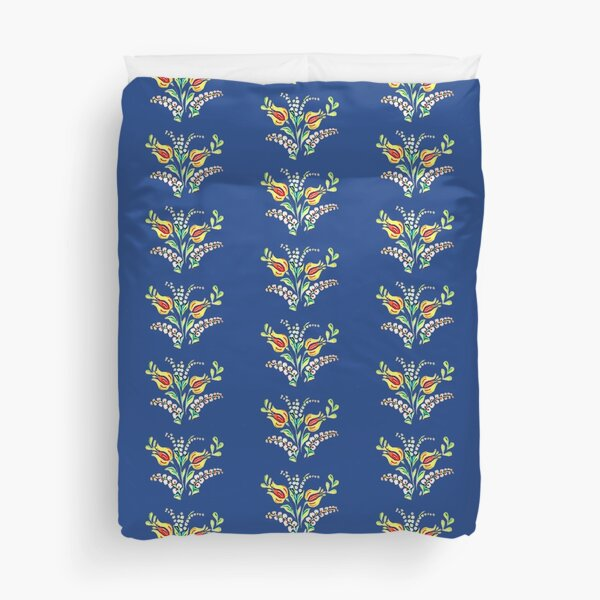 Yellow white Hungarian floral motifs Duvet Cover