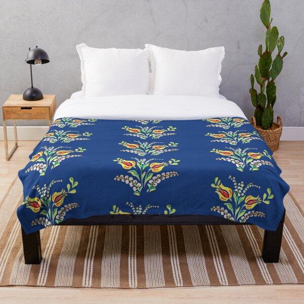 Yellow white Hungarian floral motifs Throw Blanket