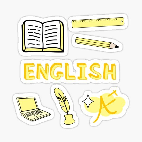 Hellgelbes englisches Schulfach Sticker Pack Sticker