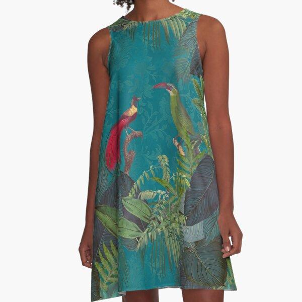 Birds Of Jungle Vintage Botanical Illustration A-Line Dress