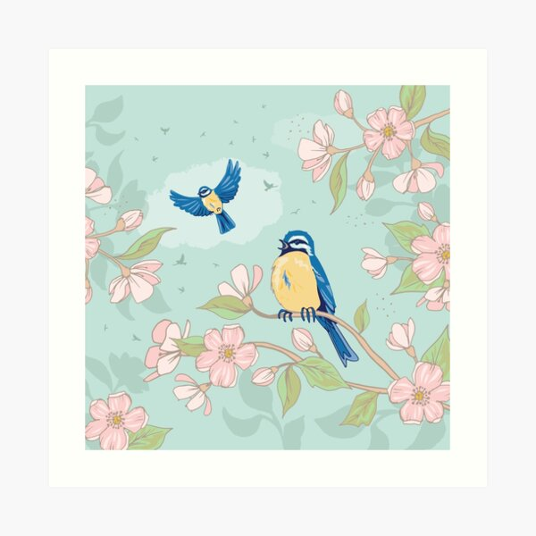 Cherry Blossom and Blue Tits Art Print