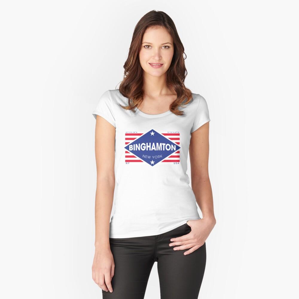Binghamton, New York - Diamond Flag Camiseta entallada de cuello ancho