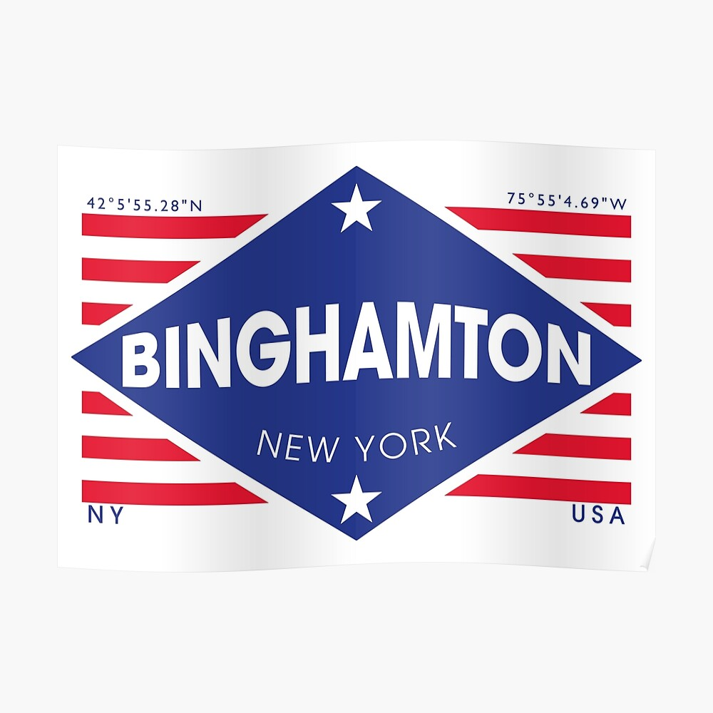 Binghamton, New York - Diamond Flag Póster