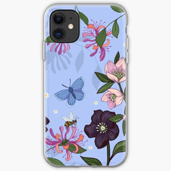 Hellebores and Foxgloves on blue iPhone Soft Case