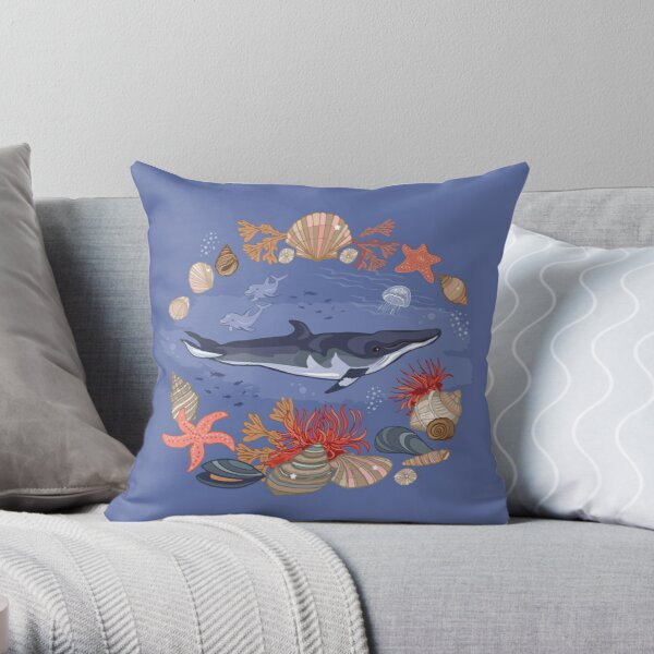 Minke Whale  Throw Pillow