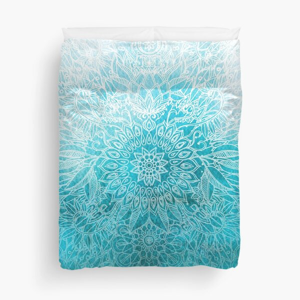 Fade to Teal - watercolor + doodle Duvet Cover
