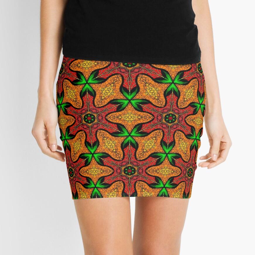 Ankara (red green mustard) African print fabric  Mini Skirt