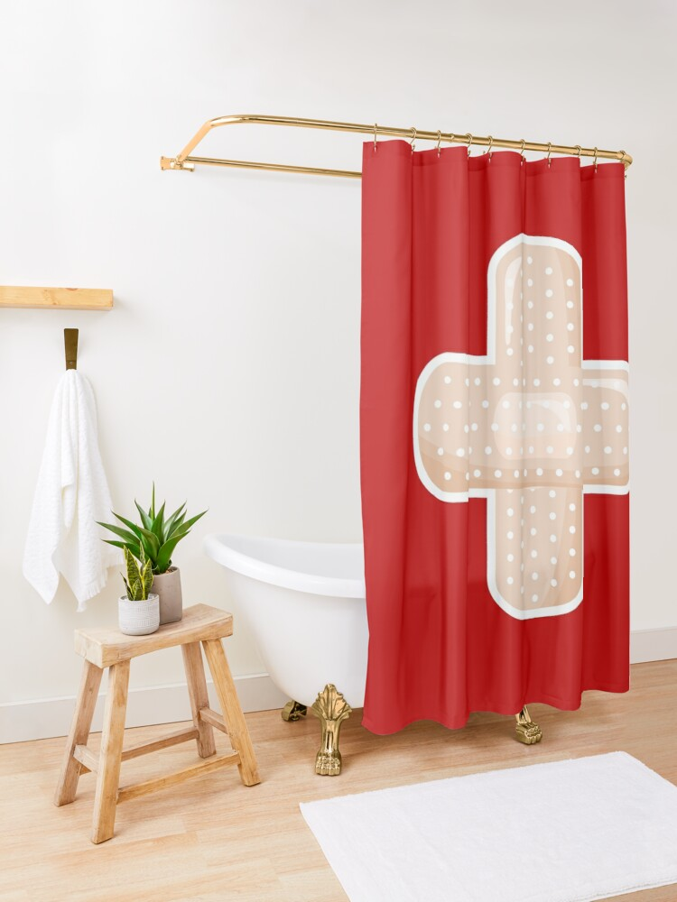 Alternate view of First Aid Plaster Shower Curtain