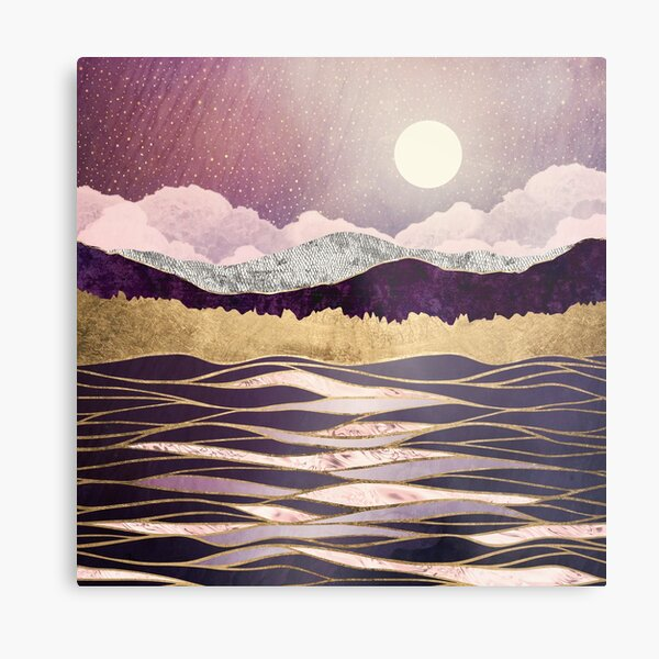 Lunar Waves Metal Print