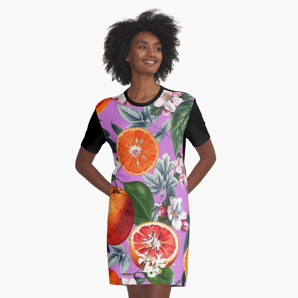 Vintage Fruit Pattern X Graphic T-Shirt Dress