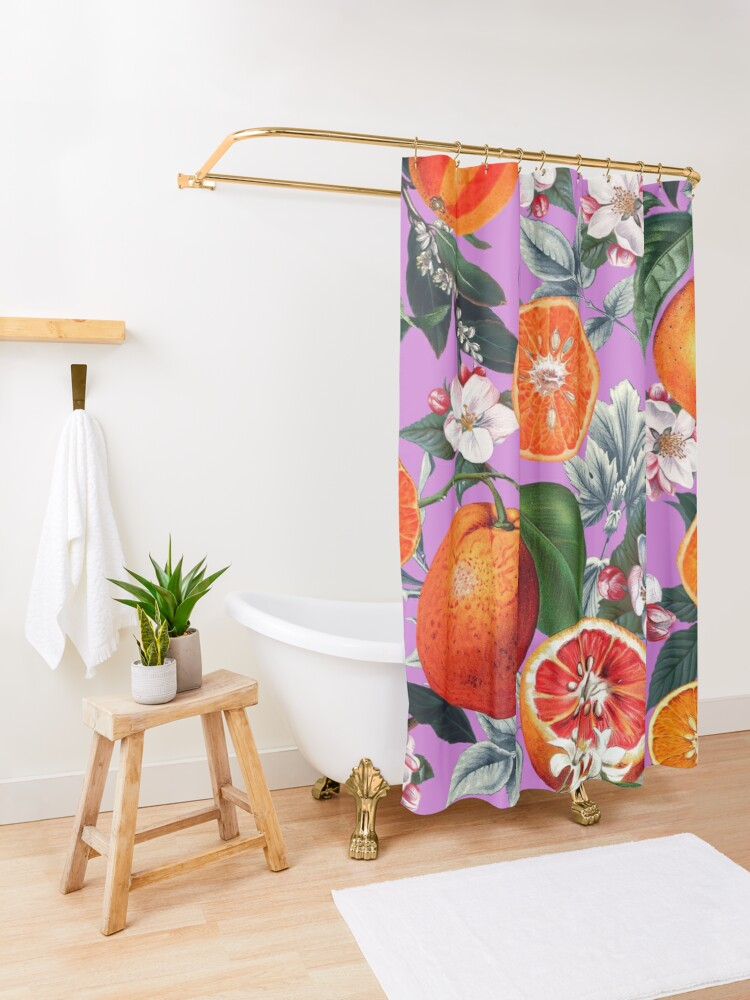 Alternate view of Vintage Fruit Pattern X Shower Curtain