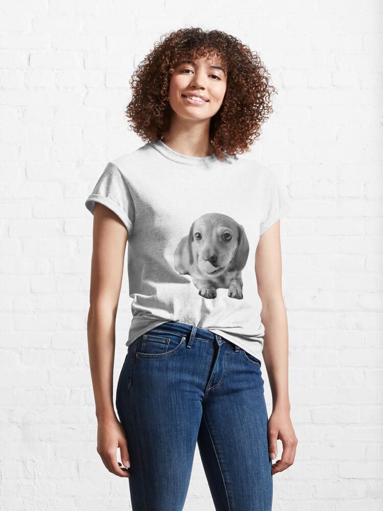 Alternate view of Little Cute Dachshund Puppy Classic T-Shirt