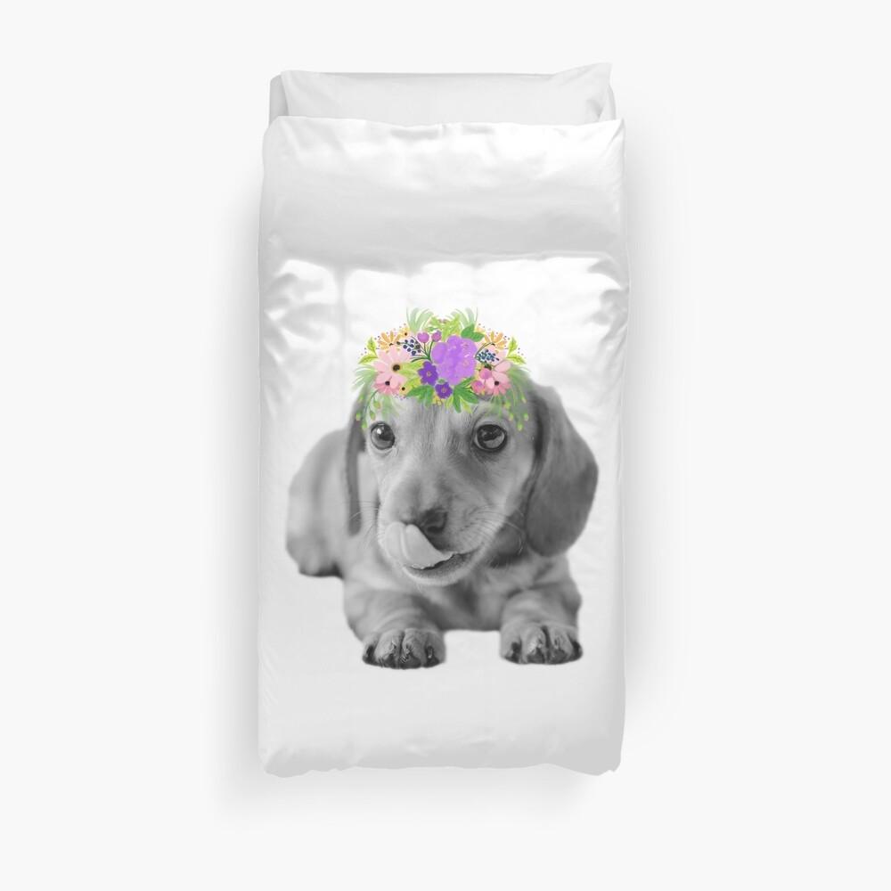 Cute Floral Dachshund Puppy Duvet Cover