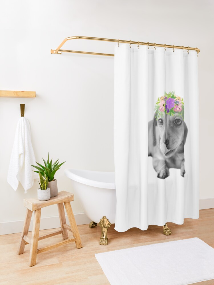 Alternate view of Cute Floral Dachshund Puppy Shower Curtain