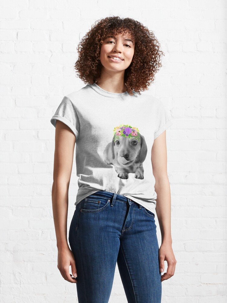 Alternate view of Cute Floral Dachshund Puppy Classic T-Shirt