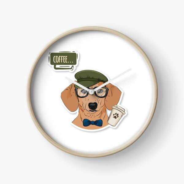"""Hipster Doxie """"Coffee"""" Clock"""