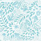 «Pastel azul floral acuarela patrón de pintura» de Dizzywonders