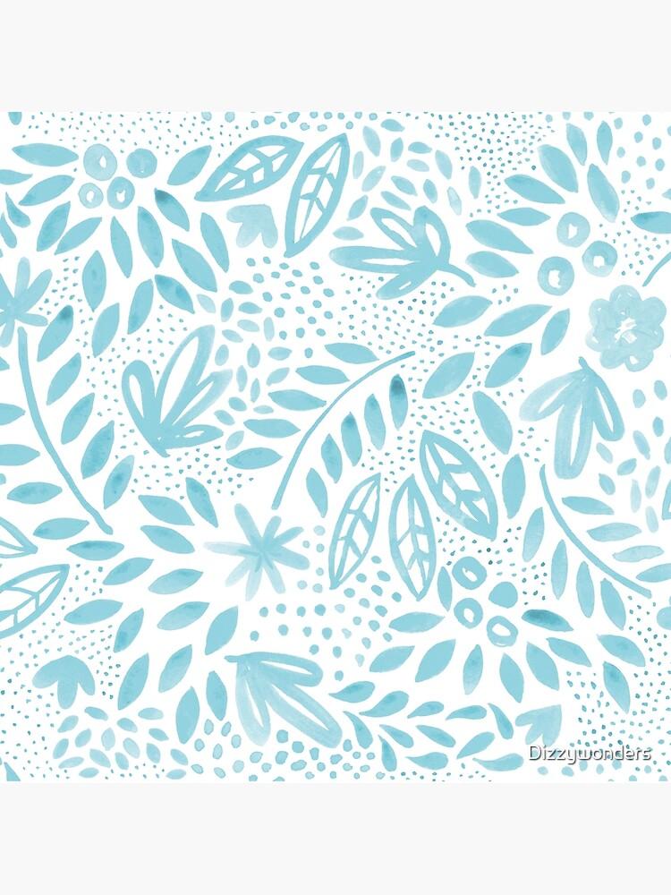 Pastel azul floral acuarela patrón de pintura de Dizzywonders