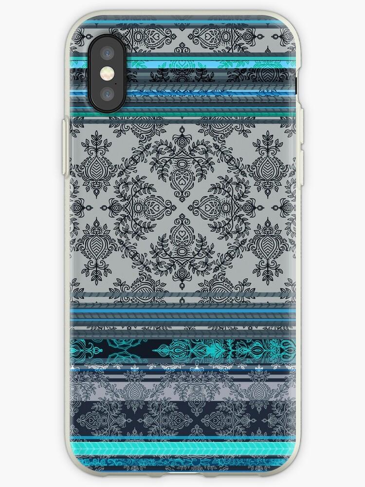 Teal Aqua Grey Vintage Bohemian Wallpaper Iphone Case By Micklyn