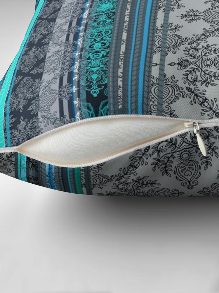 Alternate view of Teal, Aqua & Grey Vintage Bohemian Wallpaper Throw Pillow