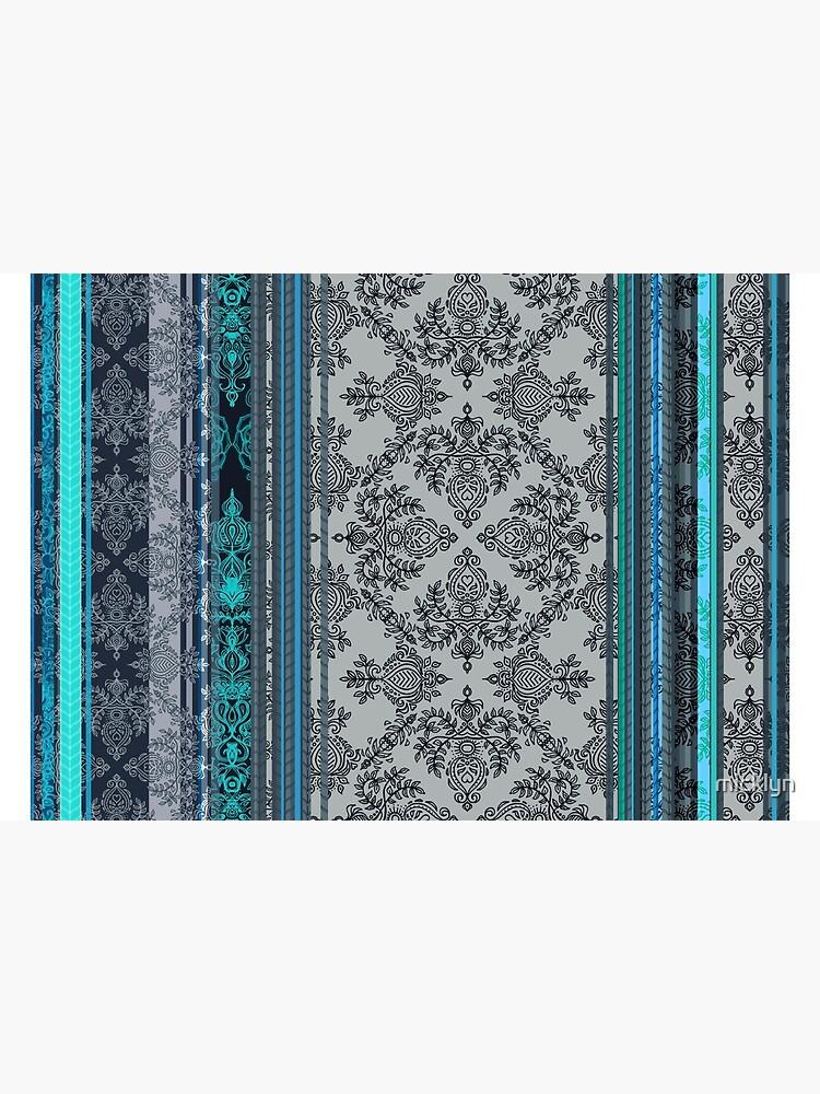 Teal, Aqua & Grey Vintage Bohemian Wallpaper by micklyn