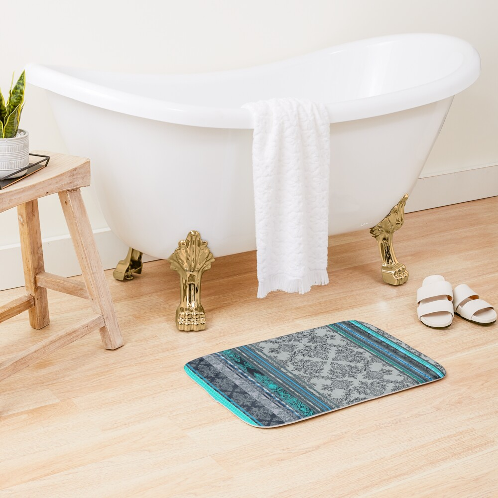 Teal, Aqua & Grey Vintage Bohemian Wallpaper Bath Mat