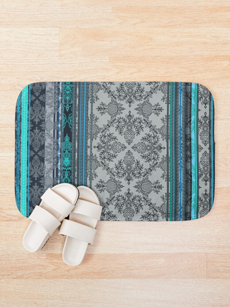Alternate view of Teal, Aqua & Grey Vintage Bohemian Wallpaper Bath Mat