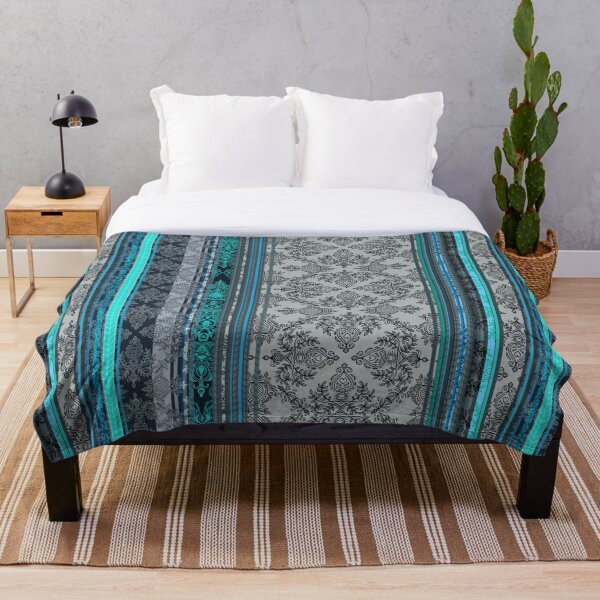 Teal, Aqua & Grey Vintage Bohemian Wallpaper Throw Blanket