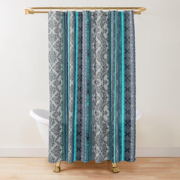 Teal, Aqua & Grey Vintage Bohemian Wallpaper Shower Curtain
