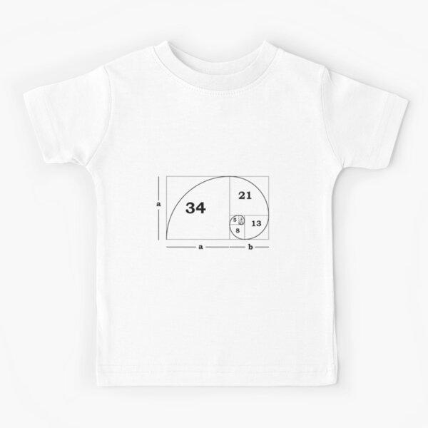 #Golden #Ratio #GoldenRatio #Design Ideas Fibonacci Spiral = 1.6180339887498948420 Kids T-Shirt