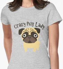 Crazy Pug Lady Women's Fitted T-Shirt