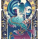 Blue Mermaid Jugendstil von AnnArtshock