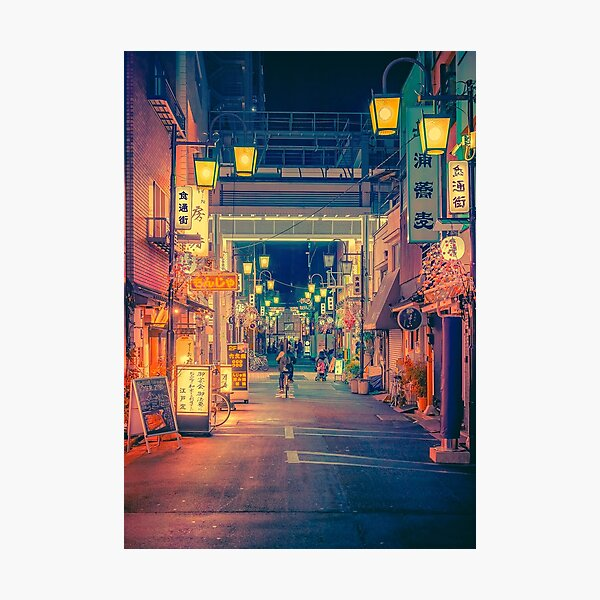 Once Upon a Time- Japan Night Photo Photographic Print