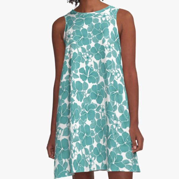 Hibiscus and Plumeria - Teal A-Line Dress