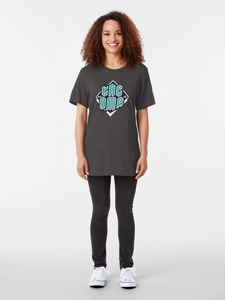 Alternate view of Copy of Tacoma but in teal! Slim Fit T-Shirt