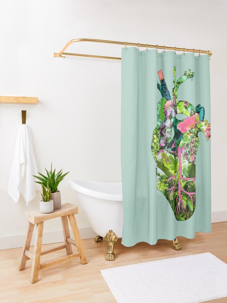 Alternate view of Botanical Heart Mint Shower Curtain