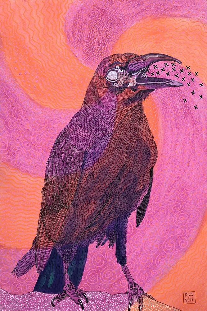 Pop Art Crow Raven Halloween Ink Painting in Intense Colors and Patterns by Dawn Pedersen
