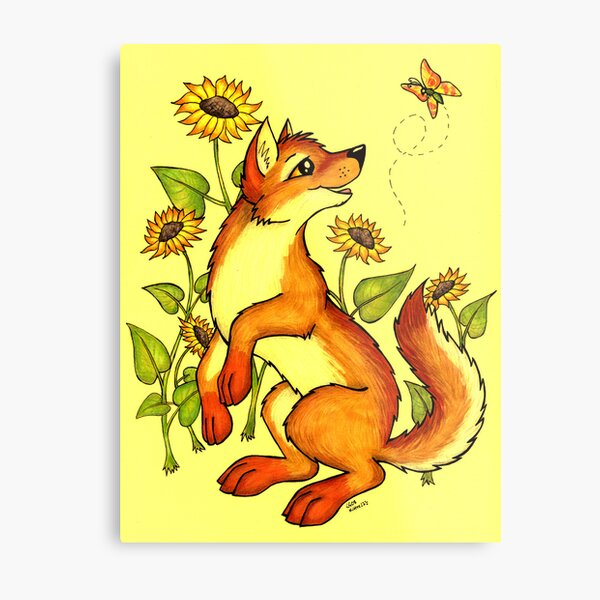 Red Wolf in Summer - Sunflowers and Butterflies Metal Print