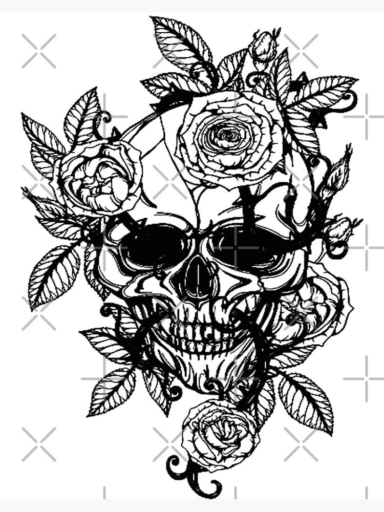 Skull And Rose Vine Art Custom Gift Design Art Board Print By