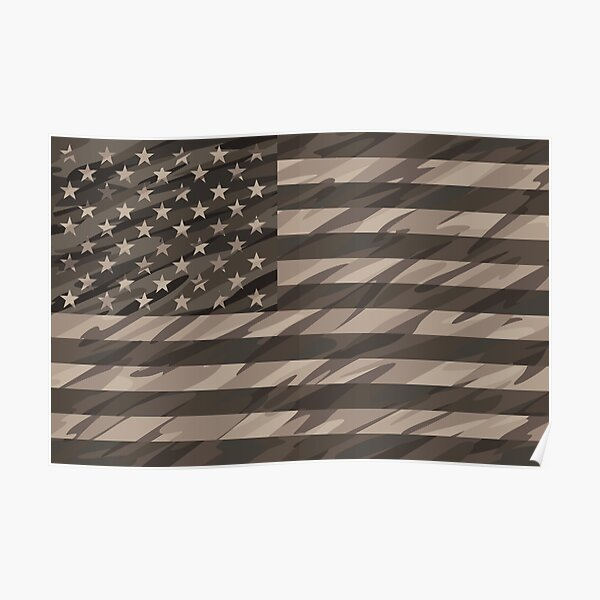 Patriotic Desert Tan Camo USA Flag Poster