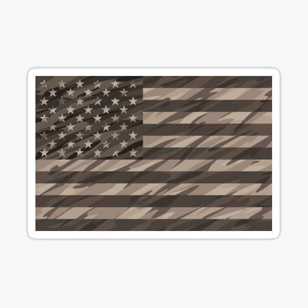 Patriotic Desert Tan Camo USA Flag Sticker