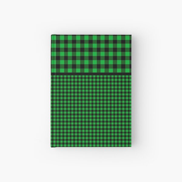 Black and Forest Green Buffalo Plaid Two Tiered Hardcover Journal